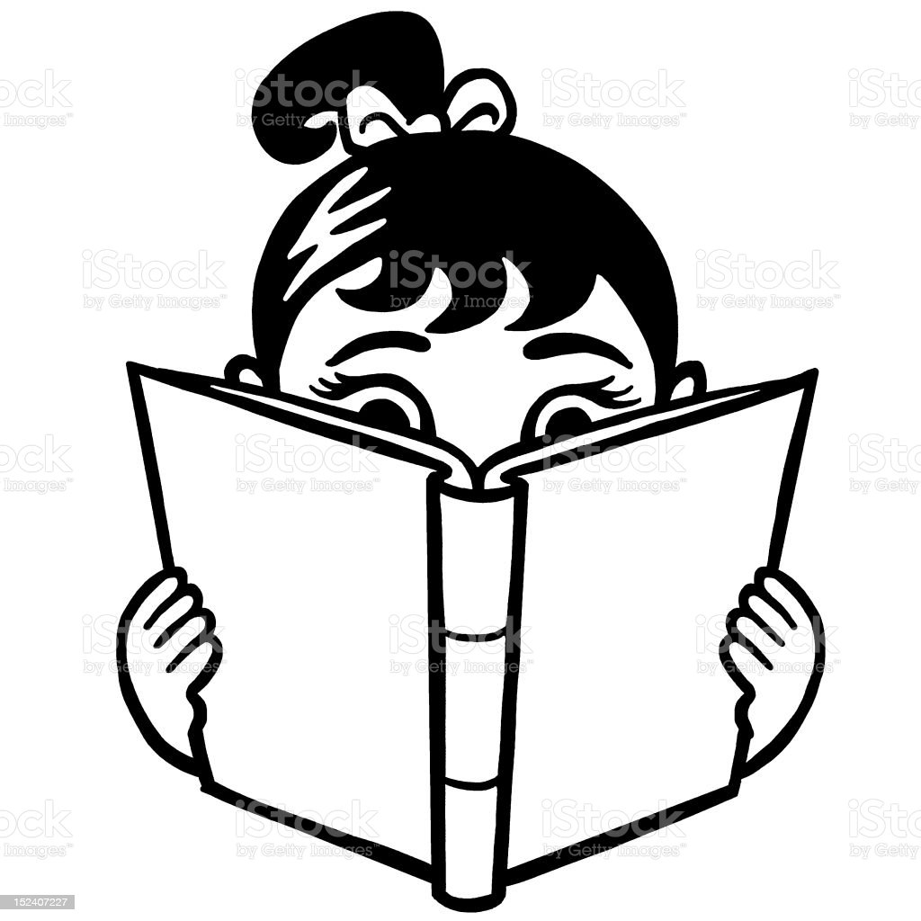 Girl Reading Book Stock Vector Art More Images Of Black And White