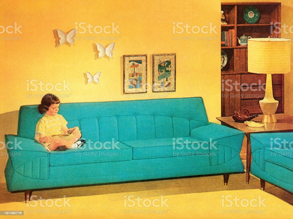 Girl Reading On Turquoise Couch vector art illustration