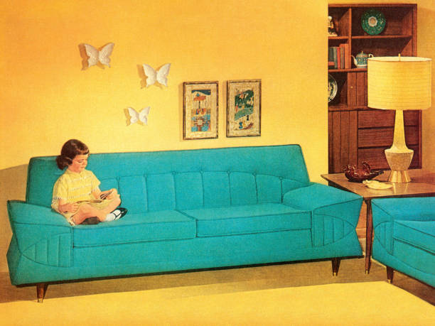 Girl Reading On Turquoise Couch Girl Reading On Turquoise Couch kitsch stock illustrations