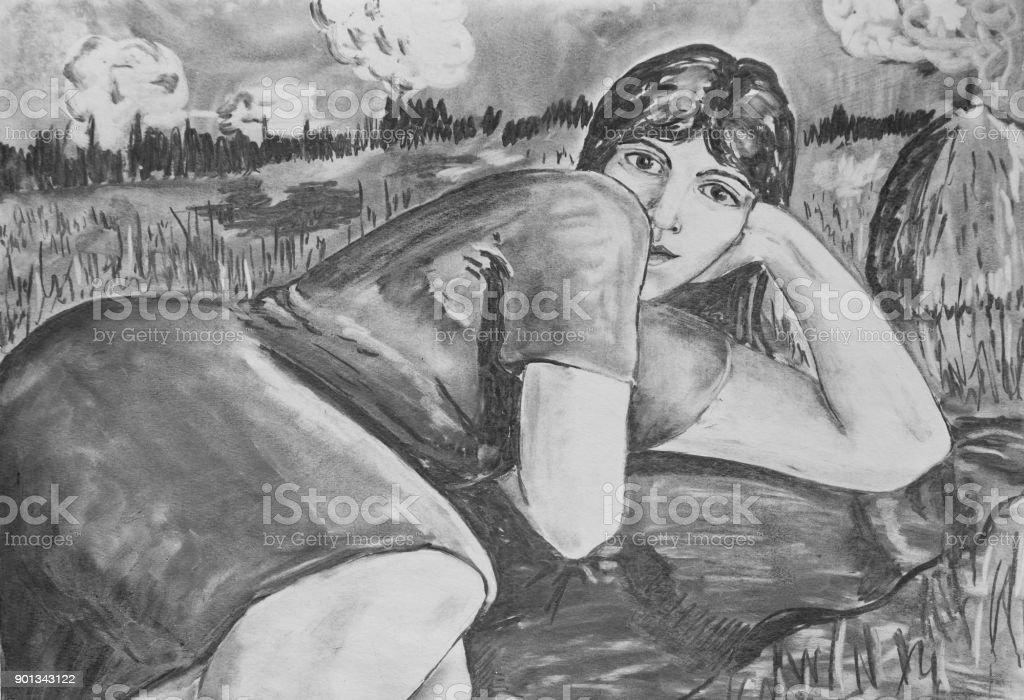 Girl resting on the nature vector art illustration