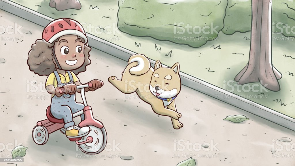 Girl riding a tricycle bike and followed by shiba dog in a park vector art illustration
