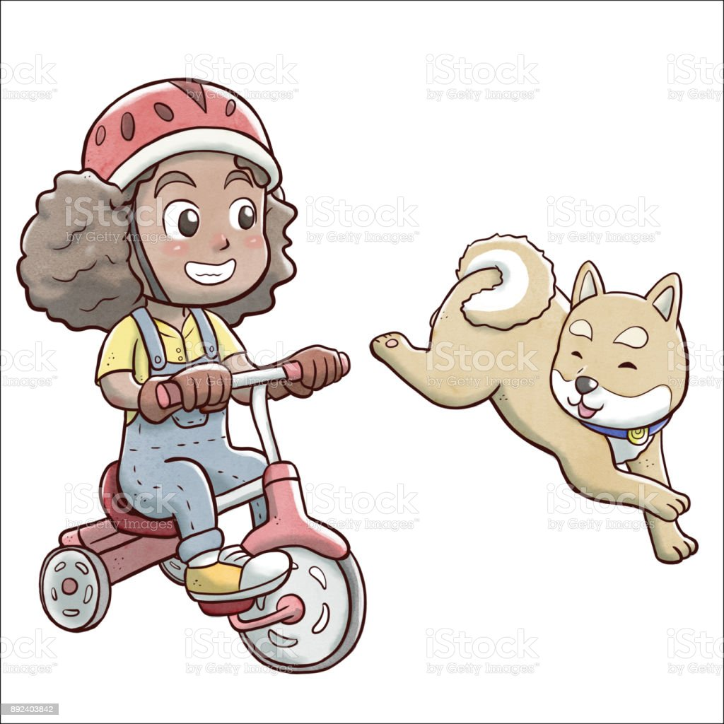 Girl riding a tricycle bike and followed by shiba dog - white background vector art illustration