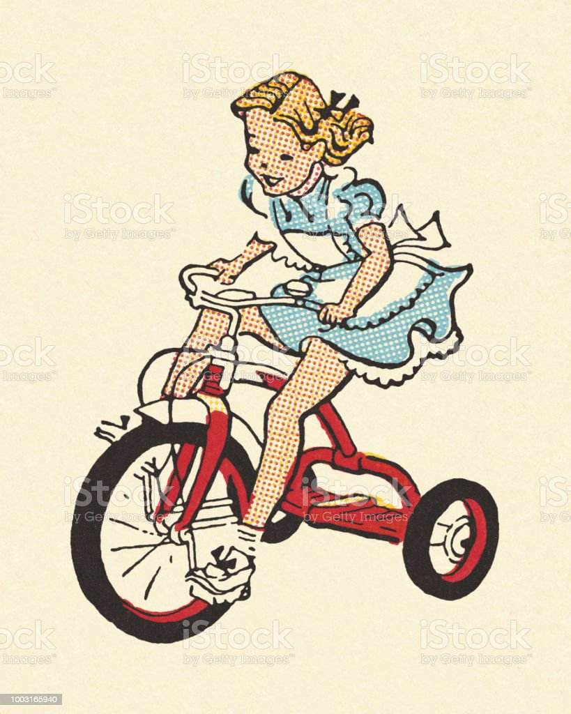 Girl Riding a Tricycle vector art illustration