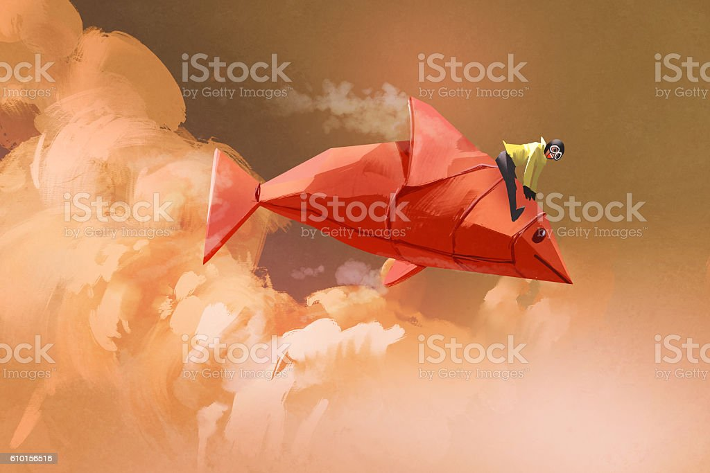 girl riding on the origami paper red fish vector art illustration