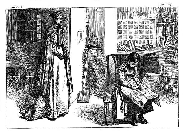 ilustrações, clipart, desenhos animados e ícones de menina sentada livro de leitura de mulher em pé atrás desde 1867 journal - salas de aula