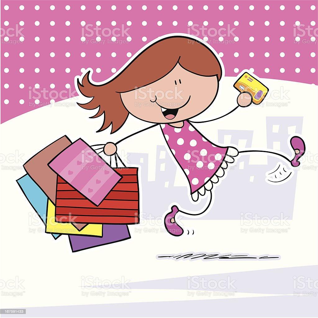 Girl Shopping royalty-free stock vector art