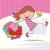 A cool girl running with bags of shopping.