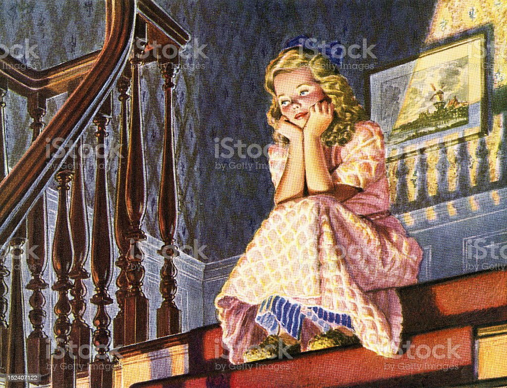 Chica Sesión En La Parte Superior De La Escalera Illustracion Libre ...
