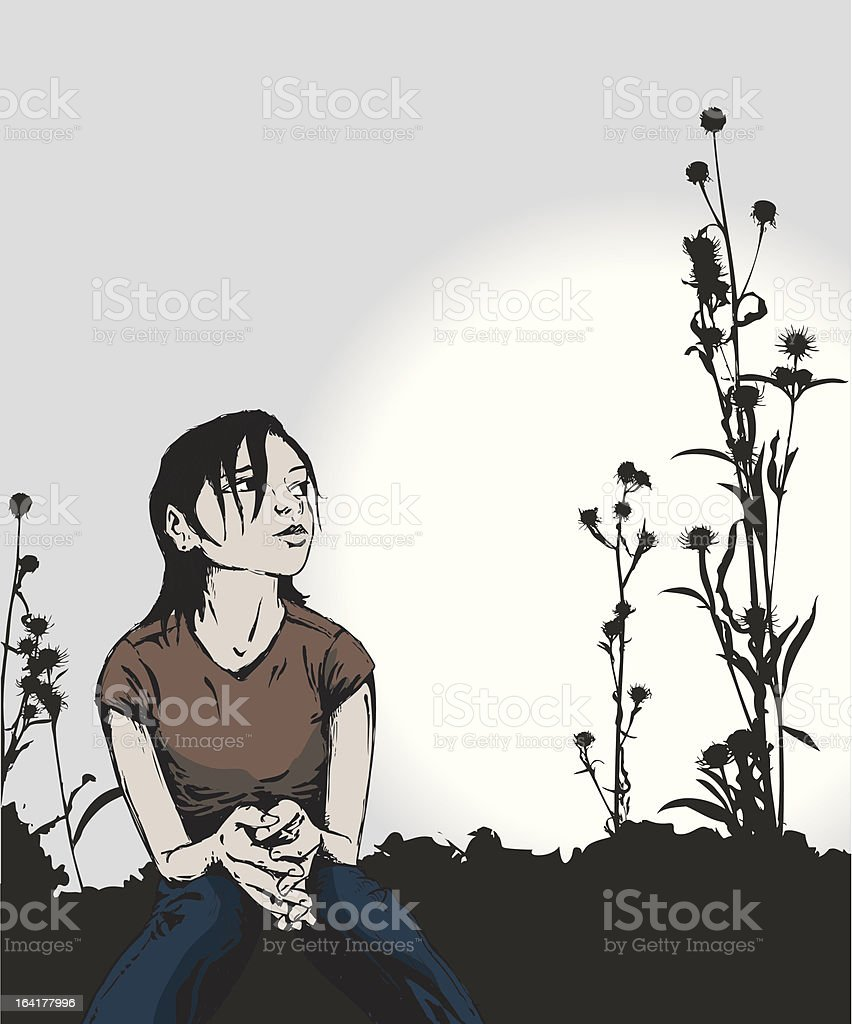 Girl Sitting in Field royalty-free stock vector art