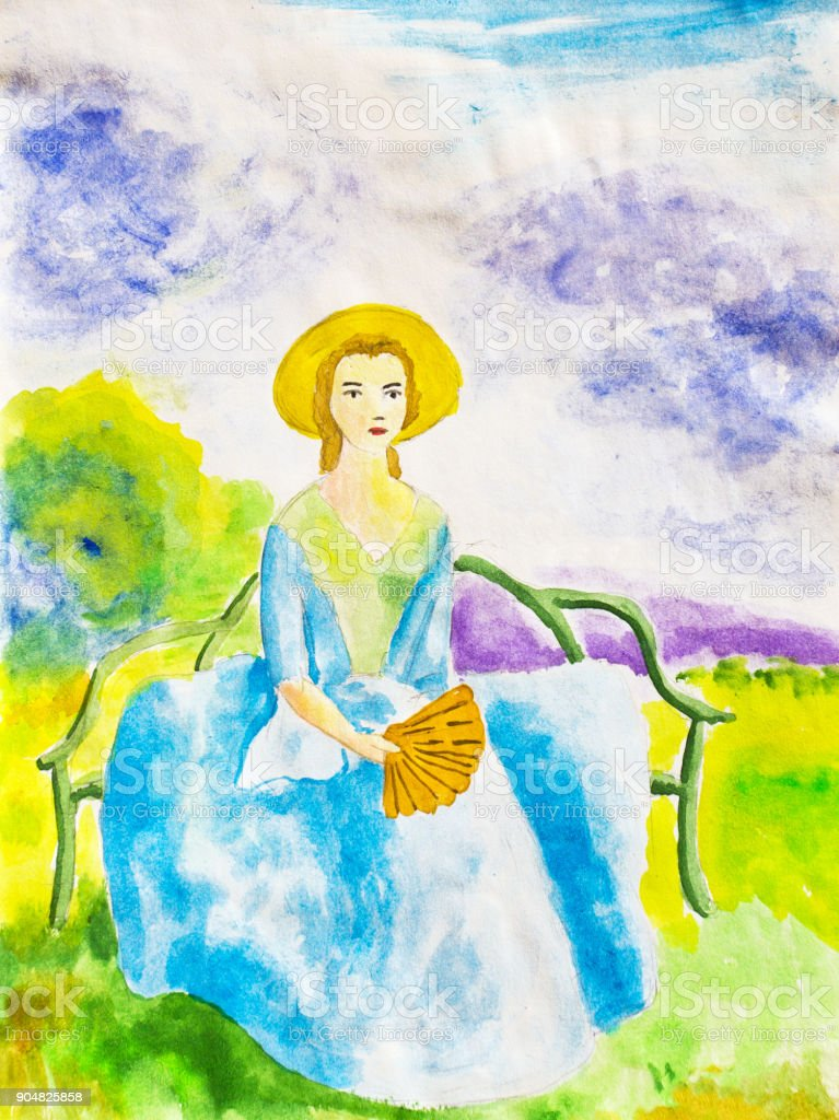 Girl sitting on  bench in the park. Watercolor vector art illustration