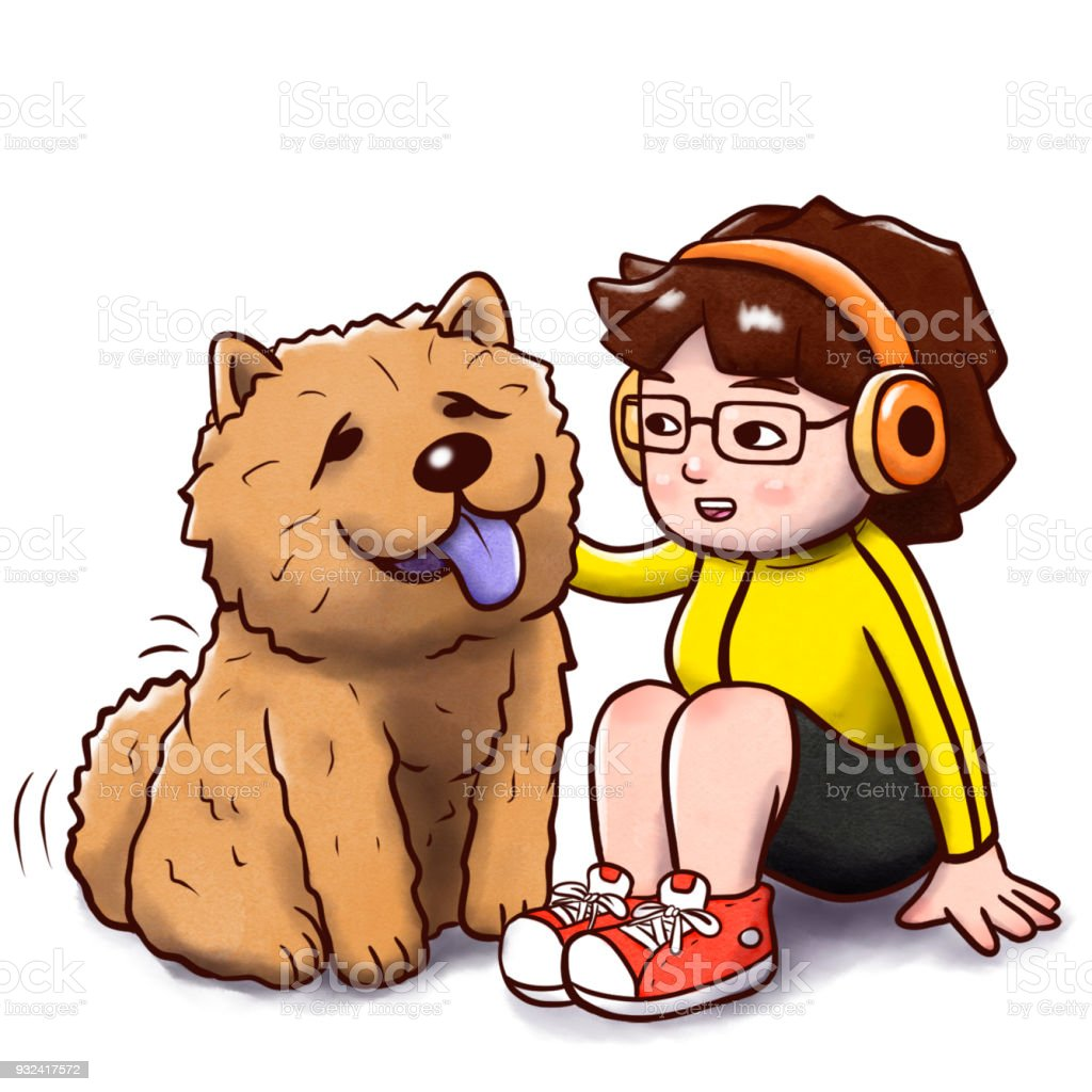 Girl Sitting With A Chow Chow Dog Isolated Version Stock