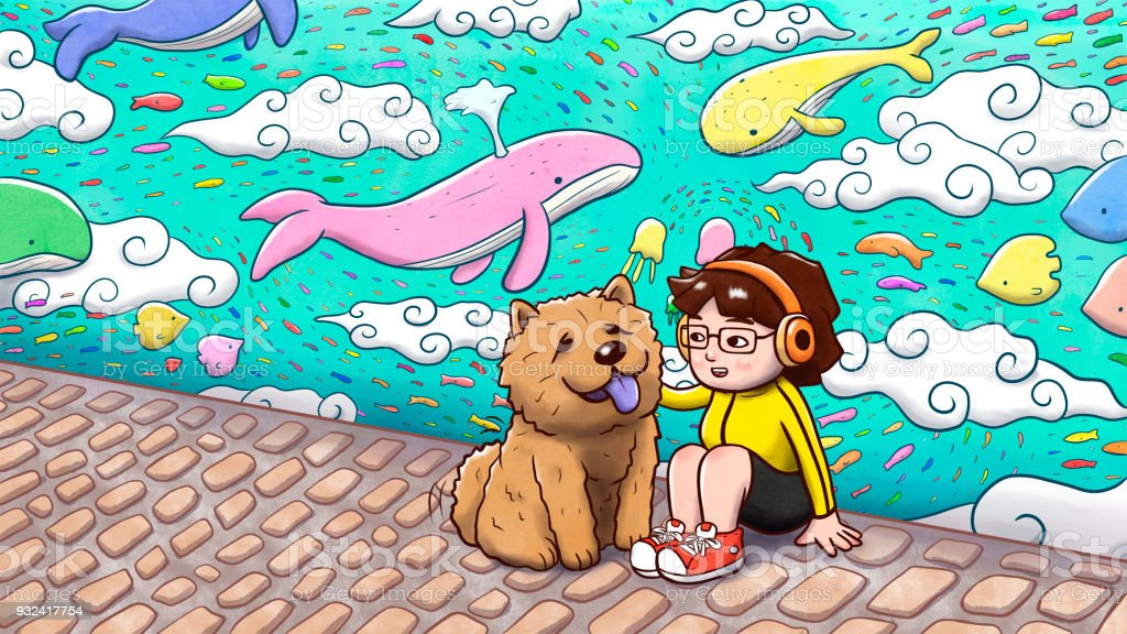 Girl Sitting With A Chow Chow Dog With Graffiti Wall In Background