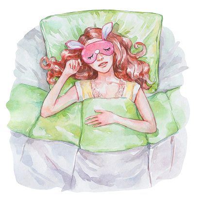 girl sleeping on the bed while wearing a blindfold