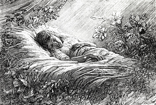 Girl sleeping surrounded by flowers