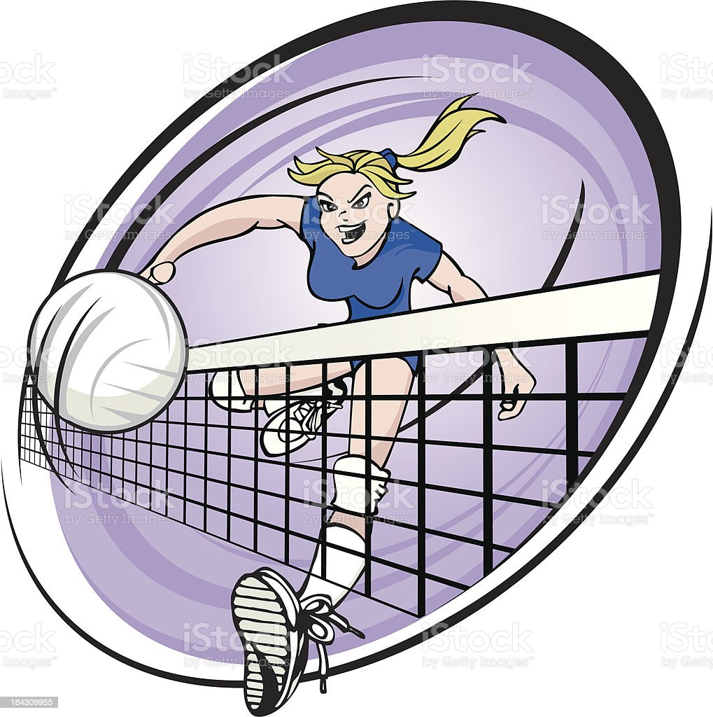 Girl Spiking Volleyball royalty-free girl spiking volleyball stock vector art & more images of activity