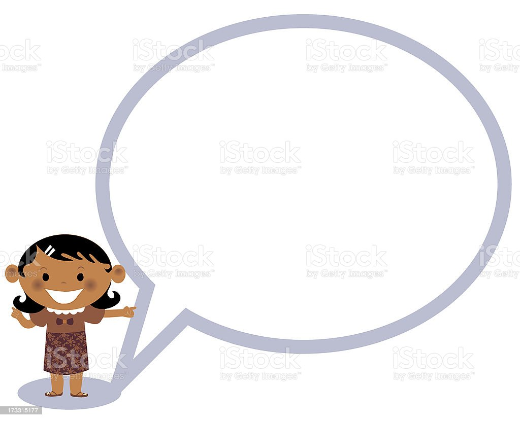 Girl standing next to a speaking bubble royalty-free stock vector art