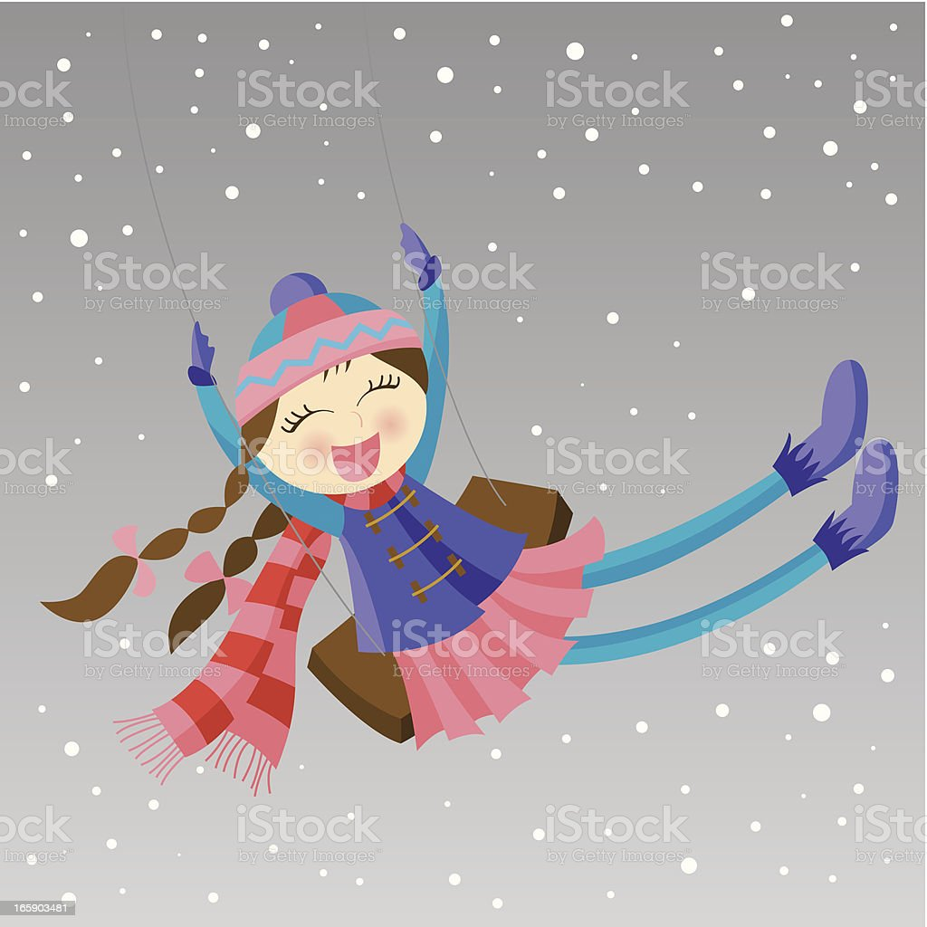 Girl swinging in winter royalty-free girl swinging in winter stock vector art & more images of child