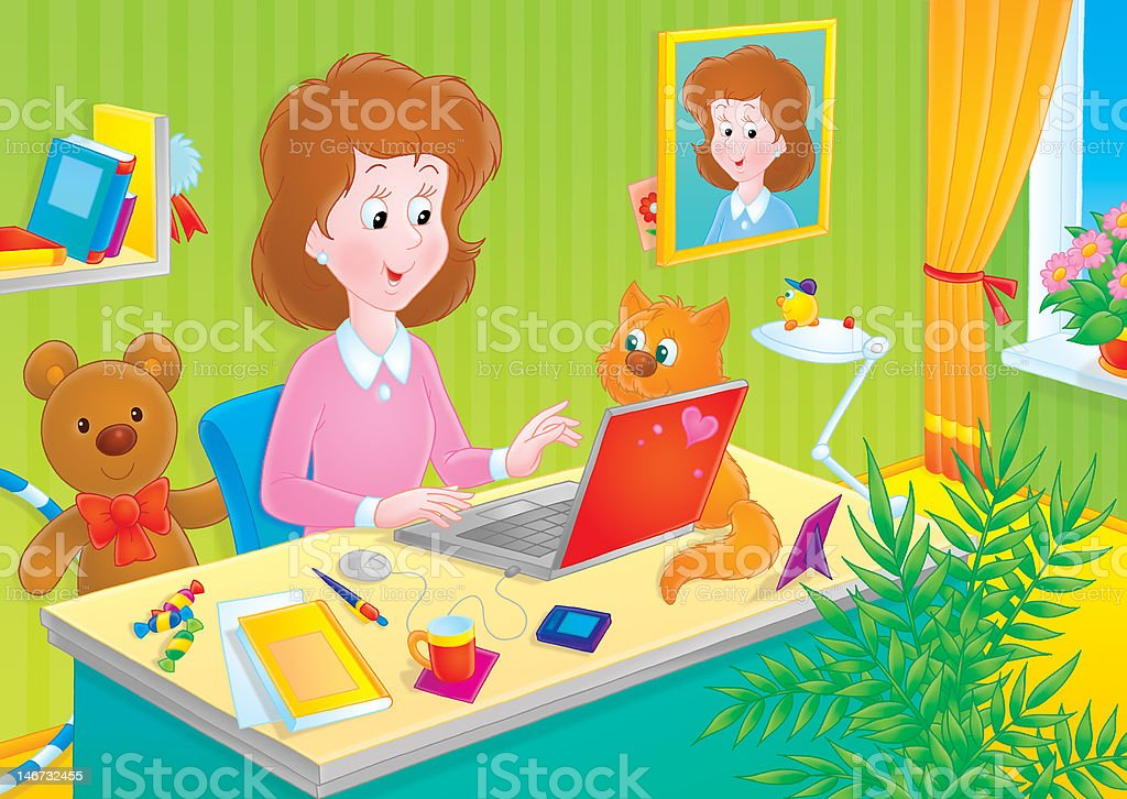 Girl using a laptop royalty-free girl using a laptop stock vector art & more images of adolescence