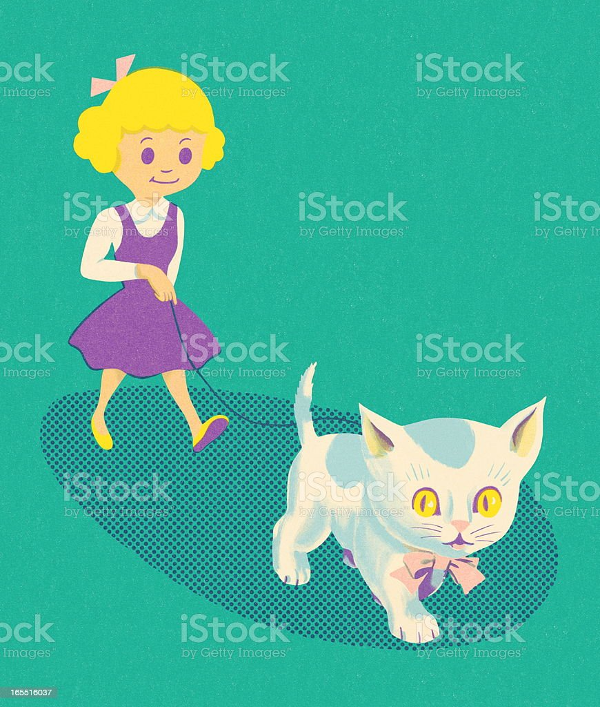 Girl Walking a Kitten on a Leash royalty-free girl walking a kitten on a leash stock vector art & more images of animal