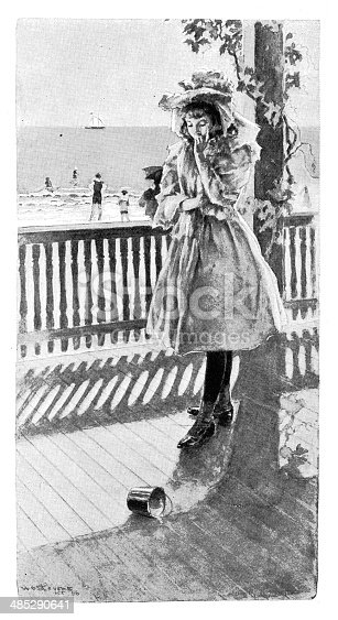 Girl Walking On Boardwalk