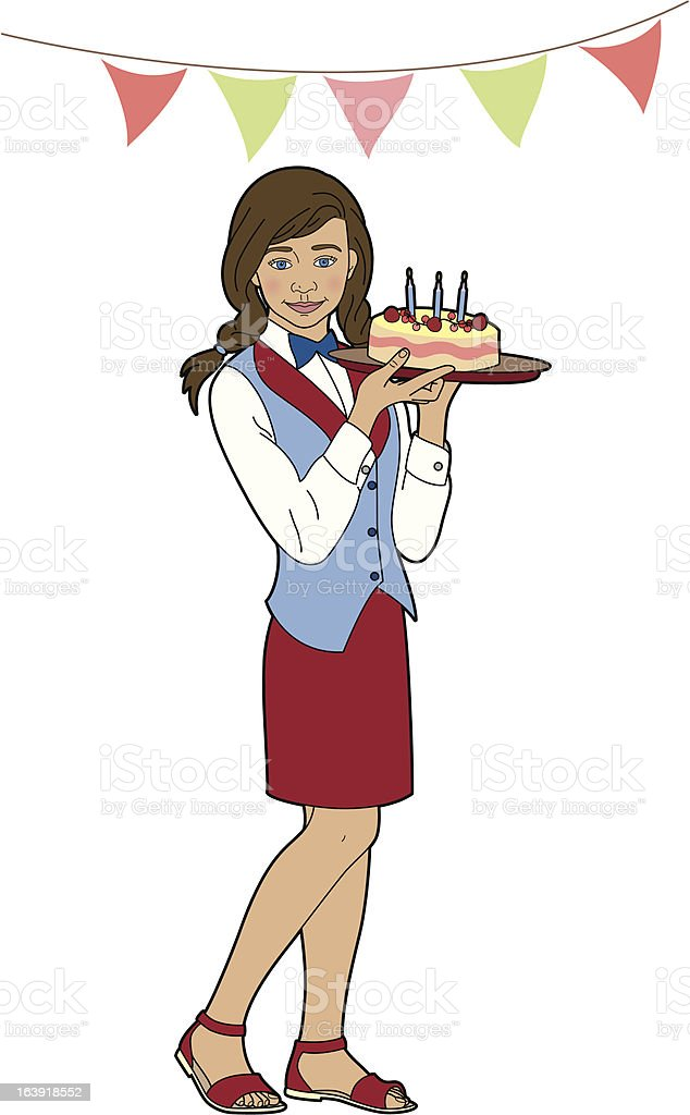 Girl with a birthday cake royalty-free stock vector art