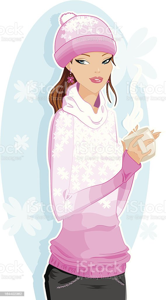 Girl with a hot drink vector art illustration