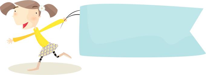 Девушка С Баннер — стоковая векторная графика и другие изображения на тему Баннер - знак