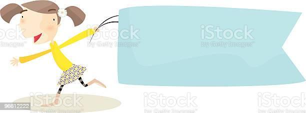 Girl With Banner-vektorgrafik och fler bilder på Baner - Skylt