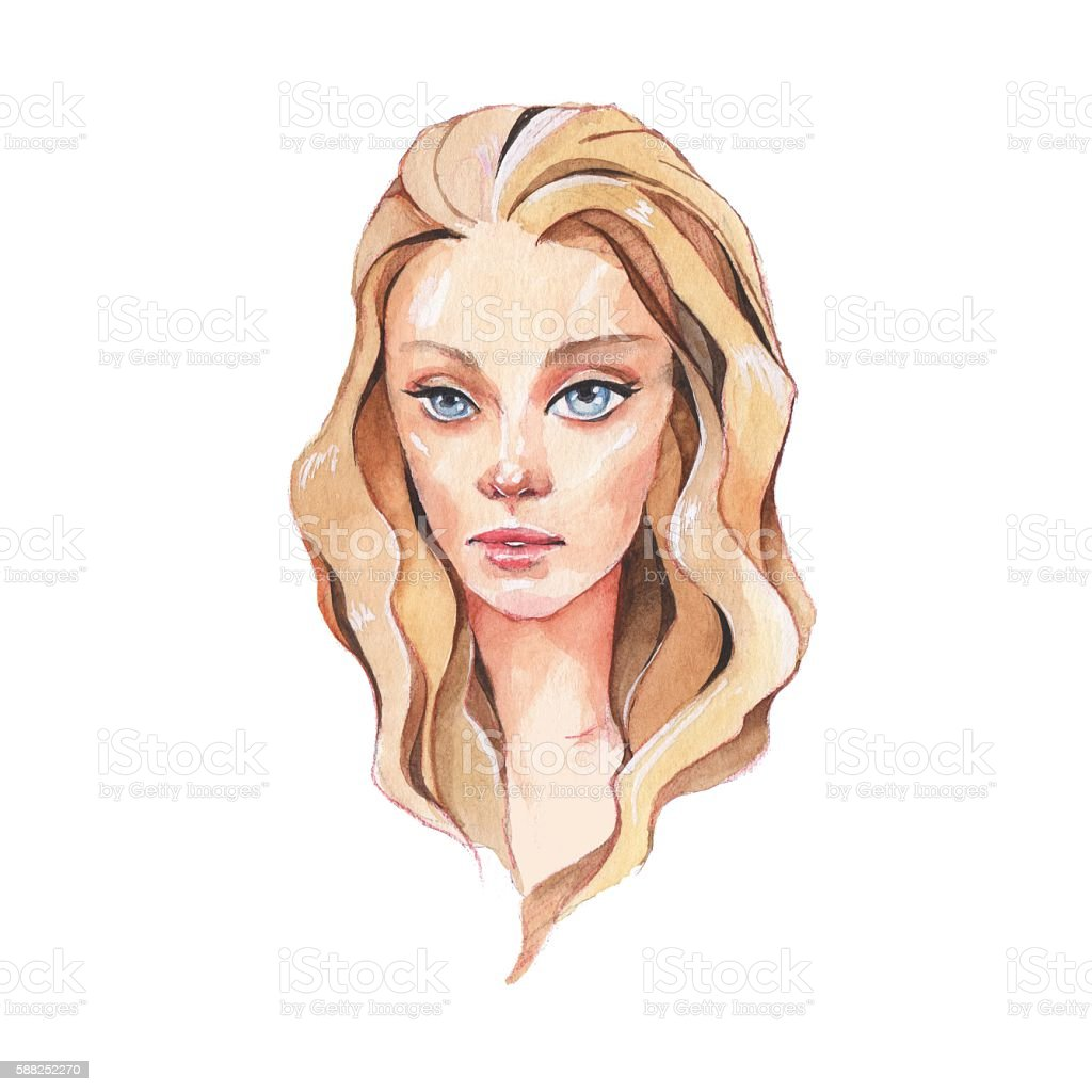 Girl with blue eyes 1. Beautiful female face. Watercolor painting vector art illustration