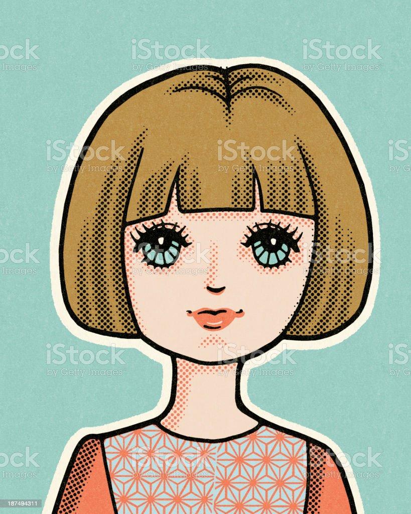 Girl With Bob Haircut royalty-free stock vector art