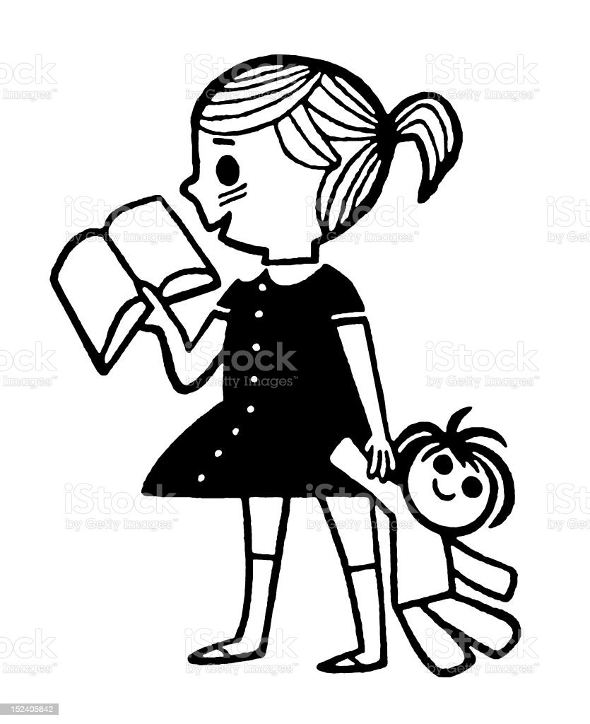 Girl With Book and Doll royalty-free stock vector art