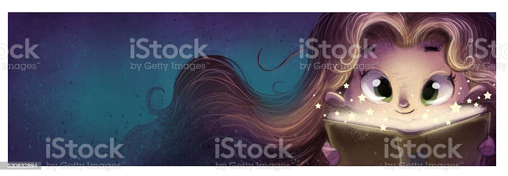 Niña con libro en la manos vector art illustration