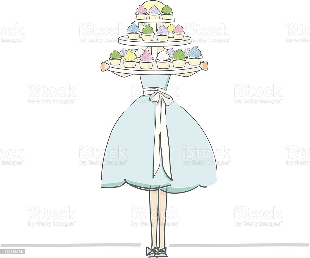 Girl with Cupcakes royalty-free stock vector art