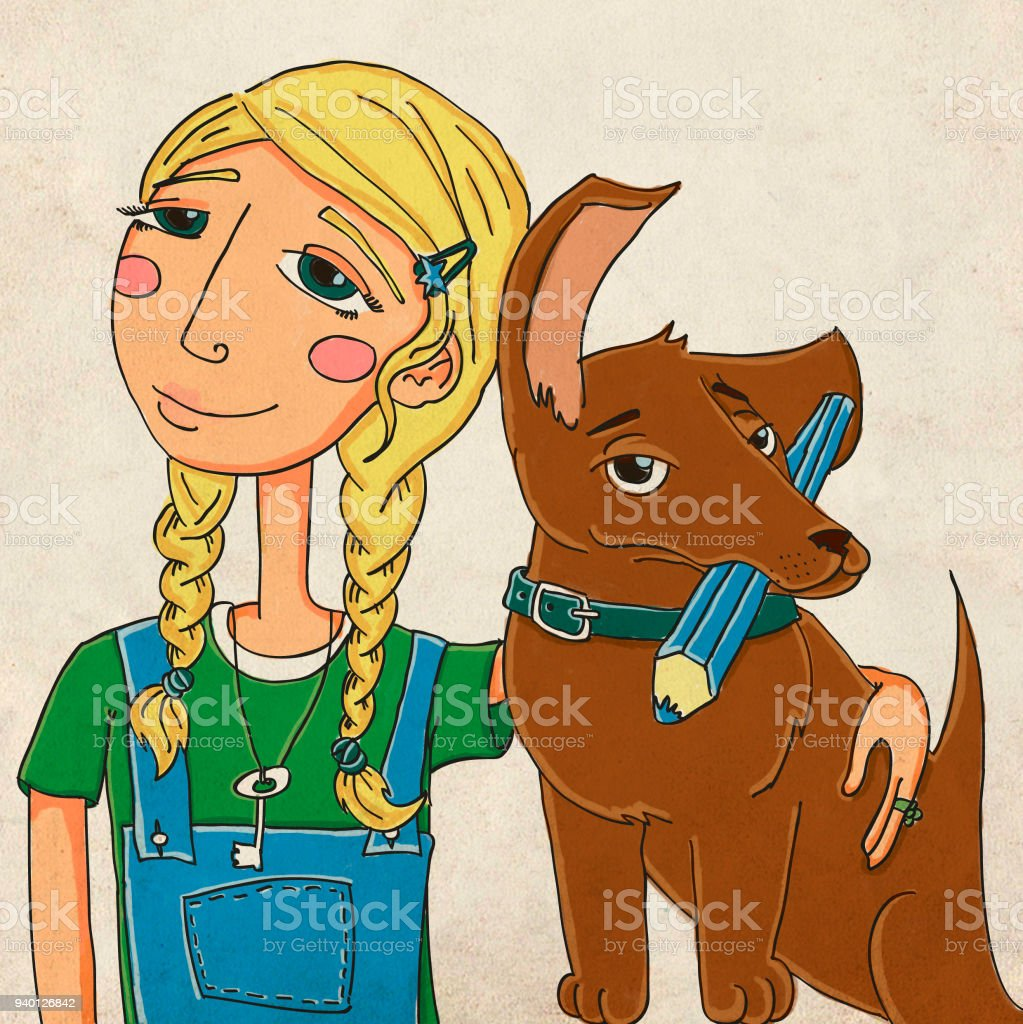 Girl with dachshund vector art illustration