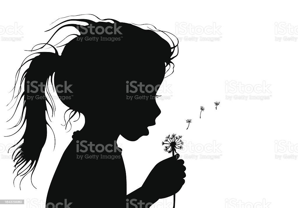 girl with dandelion vector art illustration