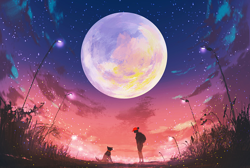 girl with dog at beautiful night with huge moon above