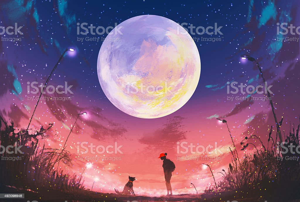 girl with dog at beautiful night with huge moon above vector art illustration