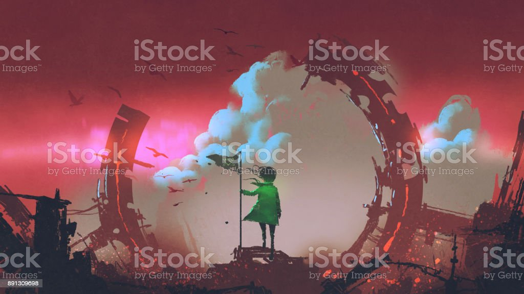 girl with flag standing on ruins of city vector art illustration