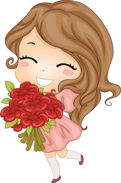 Fille avec des fleurs - Illustration vectorielle