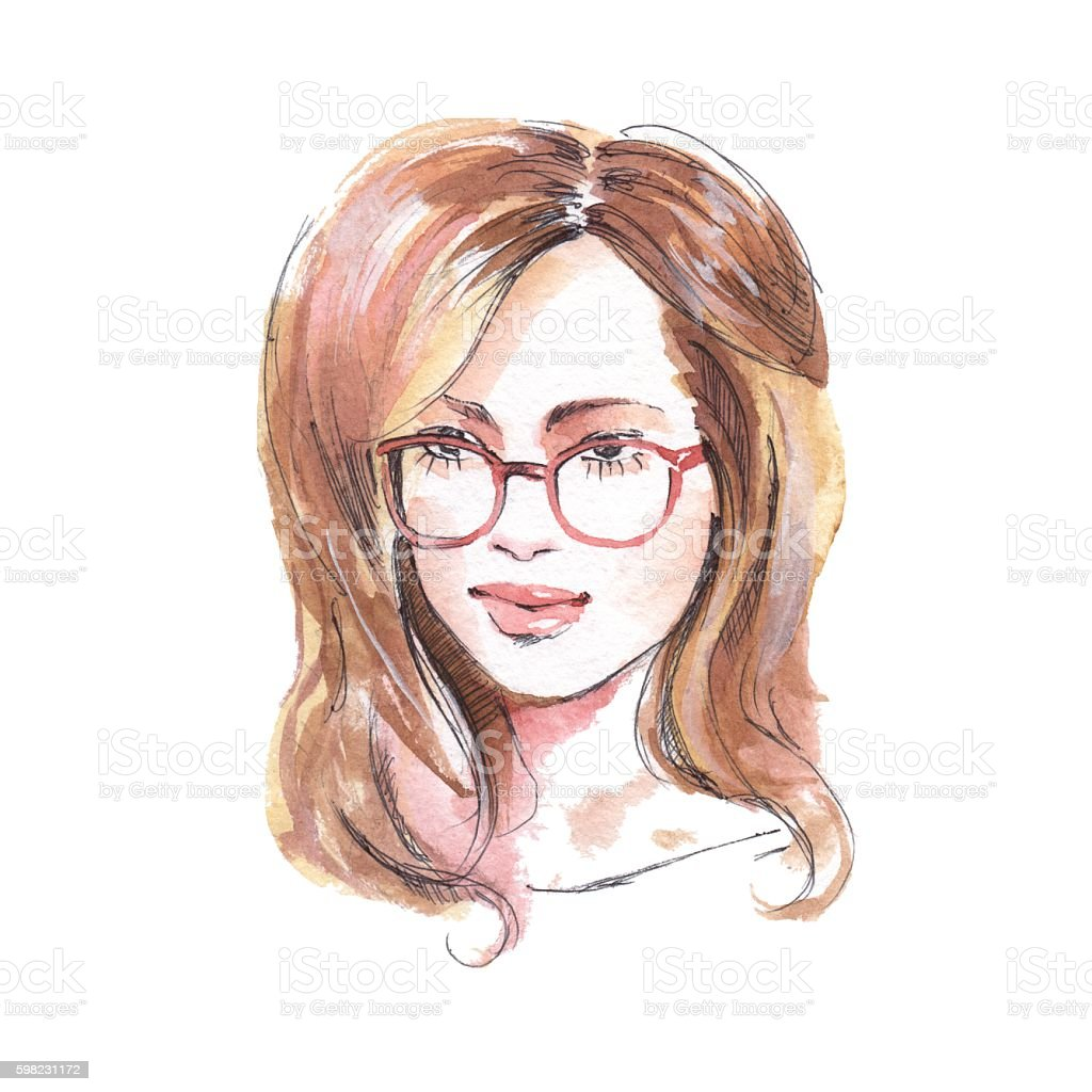 Girl with glasses. Watercolor sketch. Fashion illustration ilustração de girl with glasses watercolor sketch fashion illustration e mais banco de imagens de adulto royalty-free