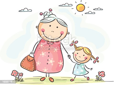 Girl With Granny Stock Vector Art & More Images of Adult ...