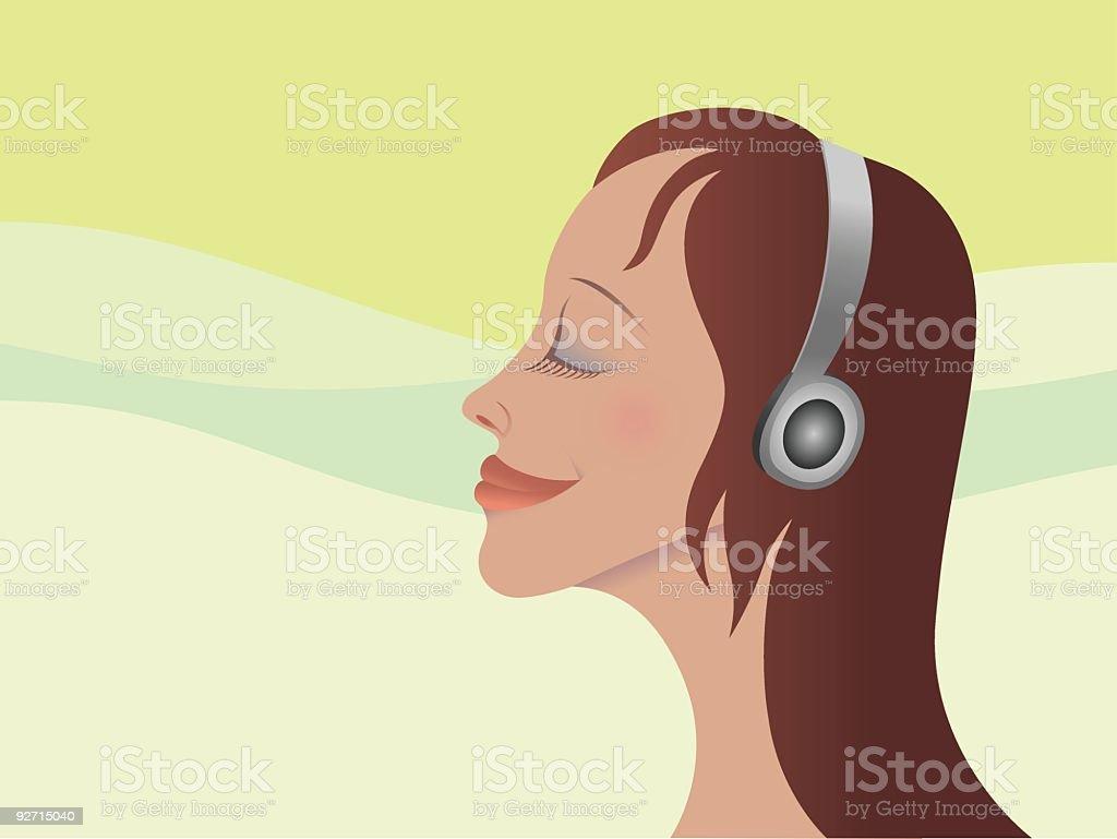 Mädchen mit Kopfhörer – Vektorgrafik
