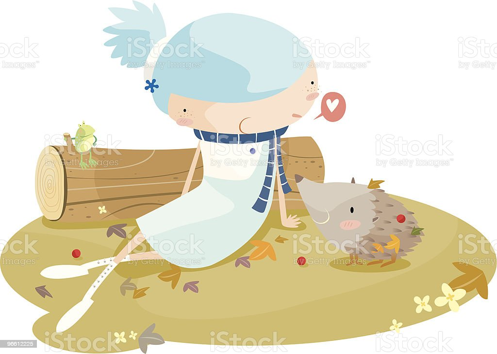 girl with hedgehog - Royalty-free Alleen kinderen vectorkunst