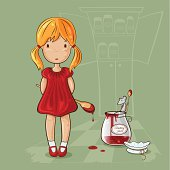 Girl with jam-jar