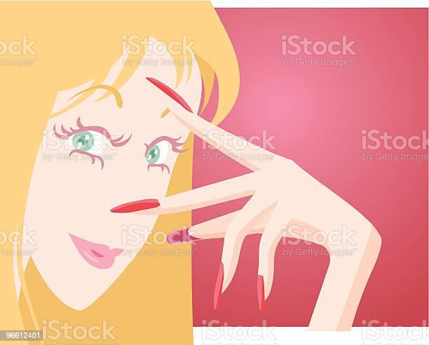 Девушка С Ухоженными Ногтей — стоковая векторная графика и другие изображения на тему Векторная графика