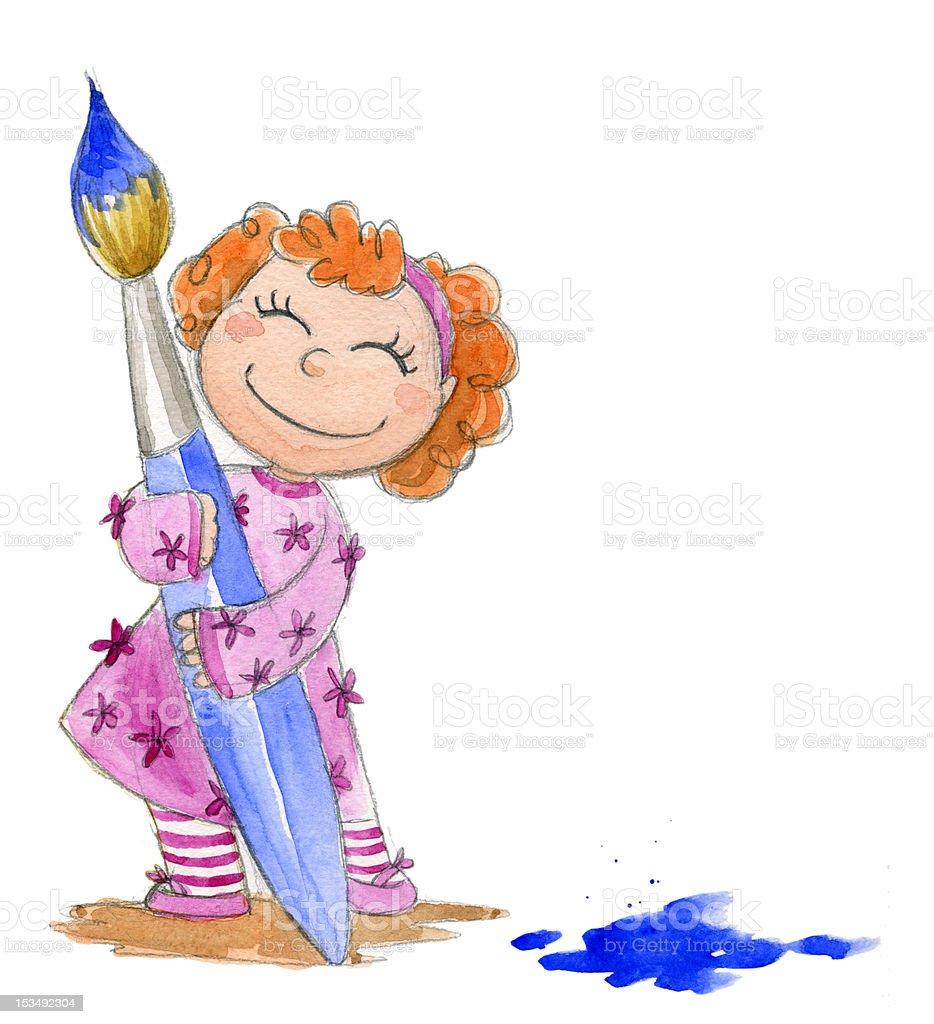 Menina com Pincel de Tinta download vetor e ilustração royalty-free