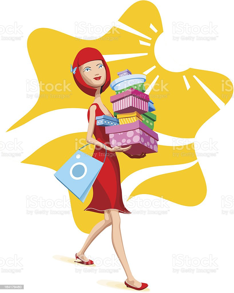 Girl with shopping royalty-free stock vector art