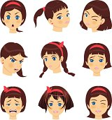 vector file of girls faces