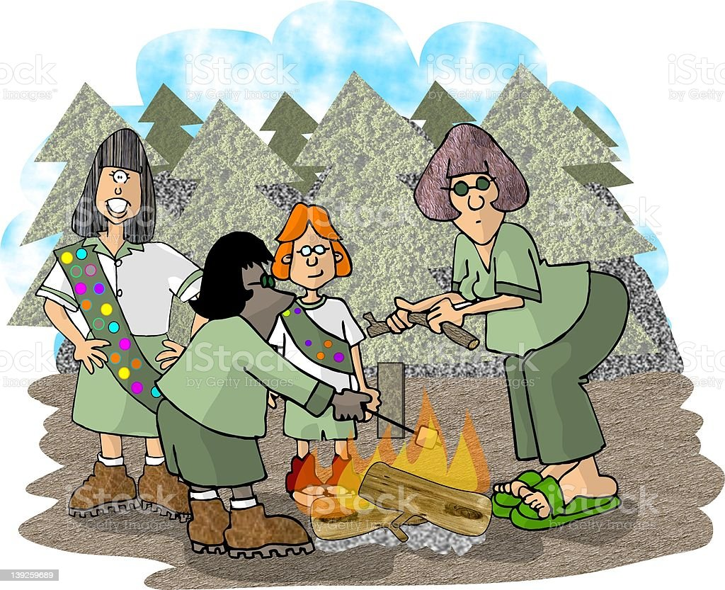 Girls on a scouting trip royalty-free stock vector art