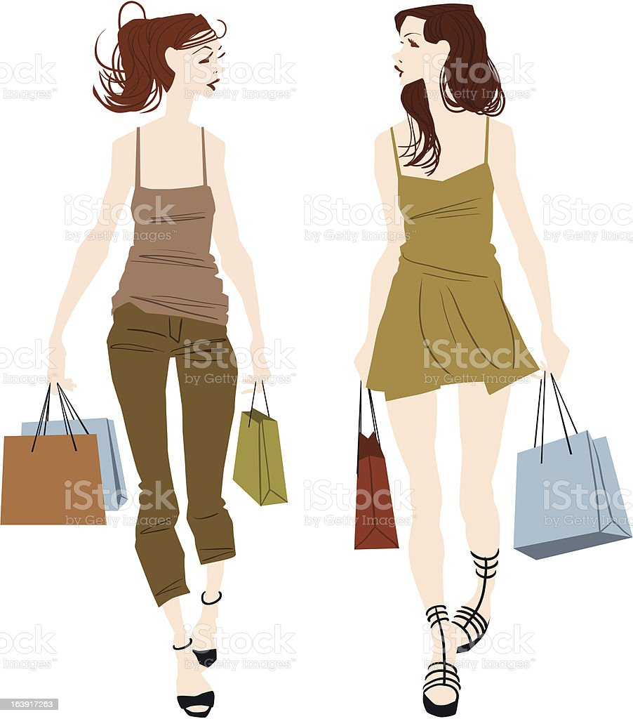 Girls with bag royalty-free stock vector art